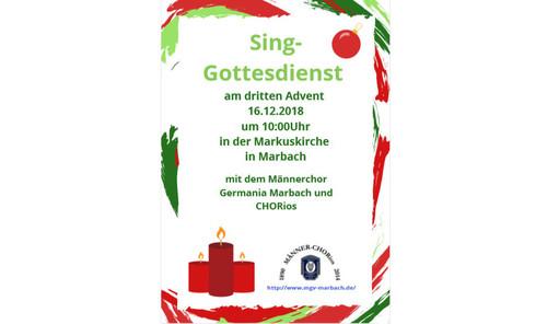 Singegottesdienst am 3. Advent mit MGV und CHORios